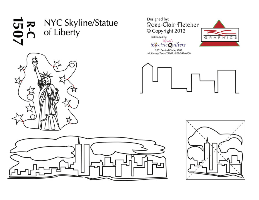 1507 Nyc Skyline And The Statue Of Liberty Pantograph Rose-Clair Fletcher