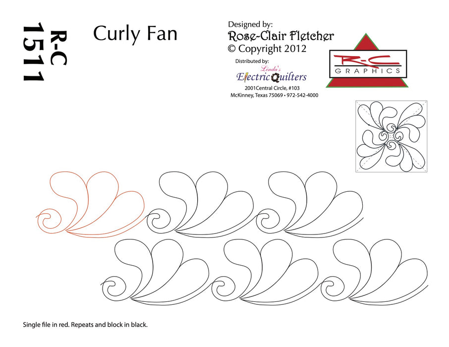 1511 Curly Fan Pantograph by Rose-Clair Fletcher