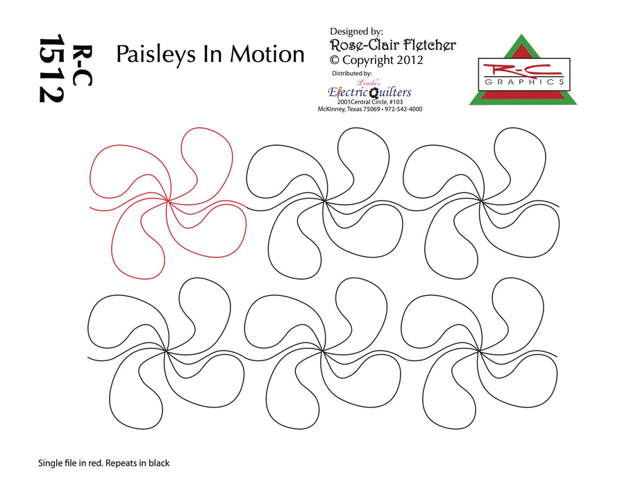 1512 Paisleys In Motion Pantograph by Rose-Clair Fletcher