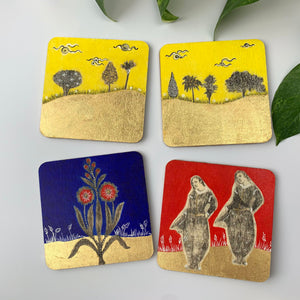 Coaster 04_ Dance Under The Yellow Sky_Set of 4 Coasters
