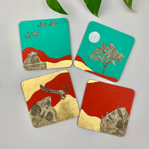 Coaster 14_Dance of the Peacock _Set of 4 Coasters