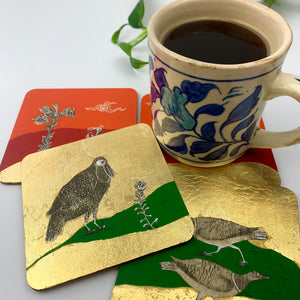 Coaster 17_The watchful bird_Set of 4 Coasters