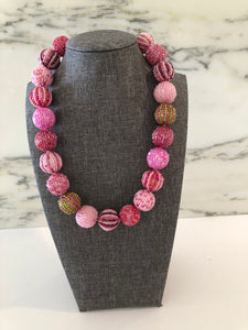Glass Beaded Necklace- Pink (Big Beads)