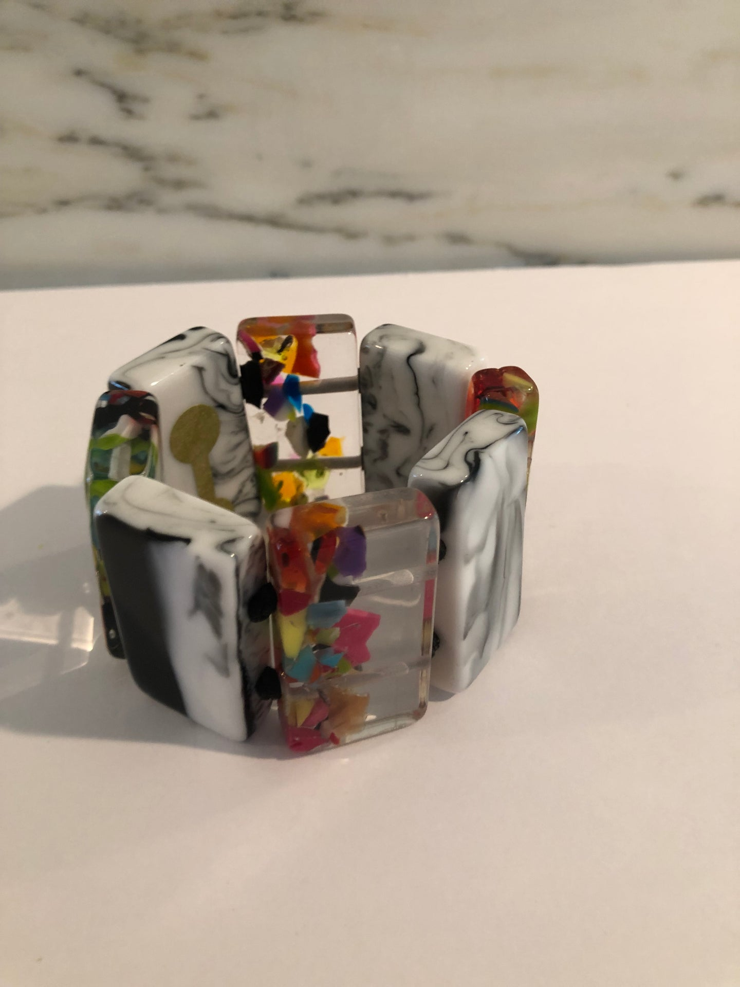 Colorful Resin Bracelet w Black & White