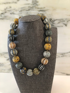 Glass Beaded Necklace- Silver/Gold Multicolor (Big Beads)