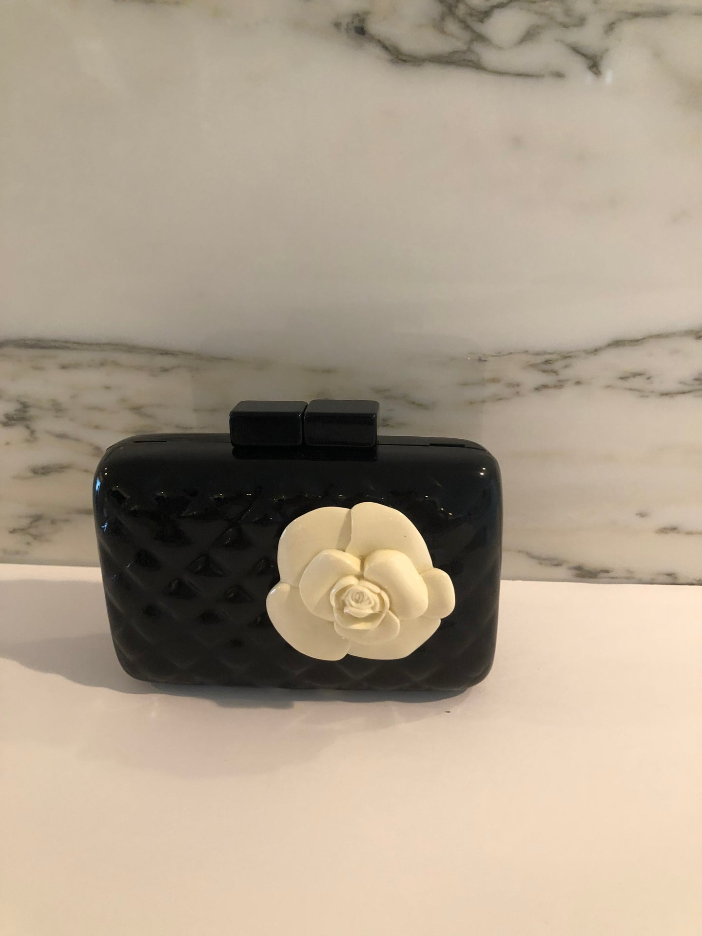 Clutch Bag/ Black With Flower