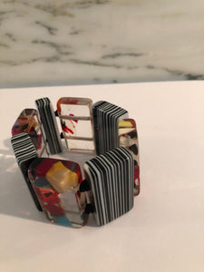 Colorful Resin Bracelet w Black & White Stripes
