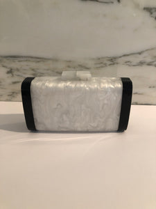 Clutch Bag-Black/White Mother of Pearl