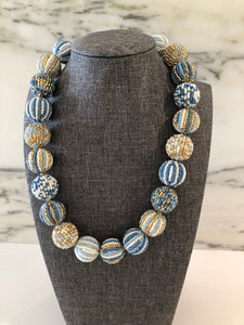 Glass Beaded Necklace- Blue/Gold (Big Beads)