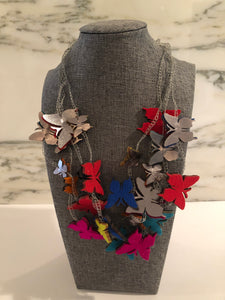 Handmade Felt Multicolor Butterfly Necklace