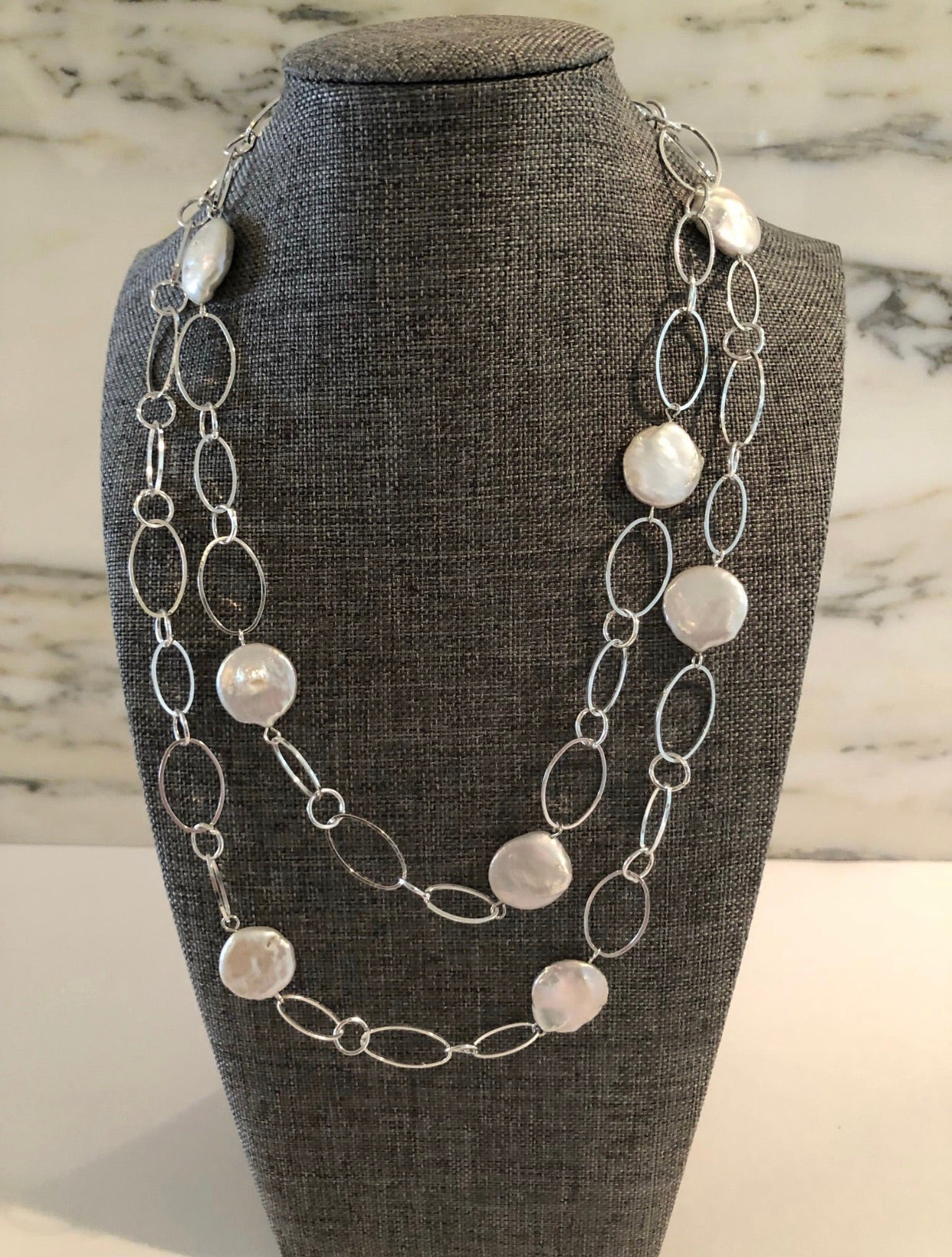 Flat Coin Pearls w Silver Chain (can be doubled)