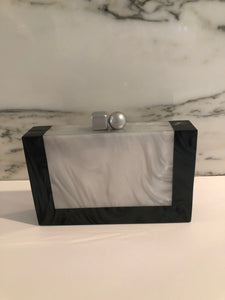 Clutch Bag-Black/Grey Mother of Pearl