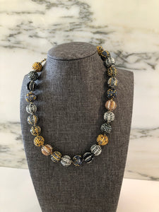 Glass Beaded Necklace- Silver / Gold Multicolor (Small Beads)