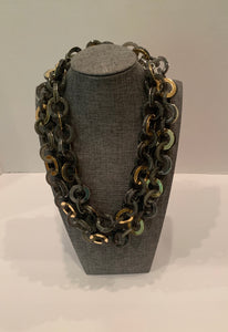 Grey Long Chain Necklace- (Can Be Doubled)