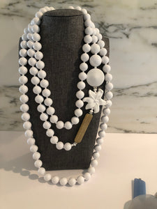 White Resin Necklace w Gold Embellishment- Can be worn Doubled or Tripled