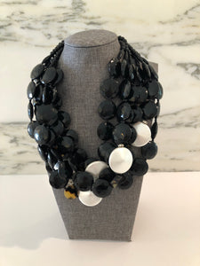 Multi faceted jet black beads w pearls
