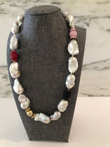 Baroque Pearls w Colorful Stones
