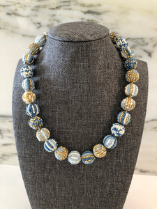 Glass Beaded Necklace- Blue/ Gold( Small Beads)