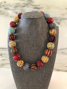 Glass Beaded Necklace- Multicolor (Big Beads)