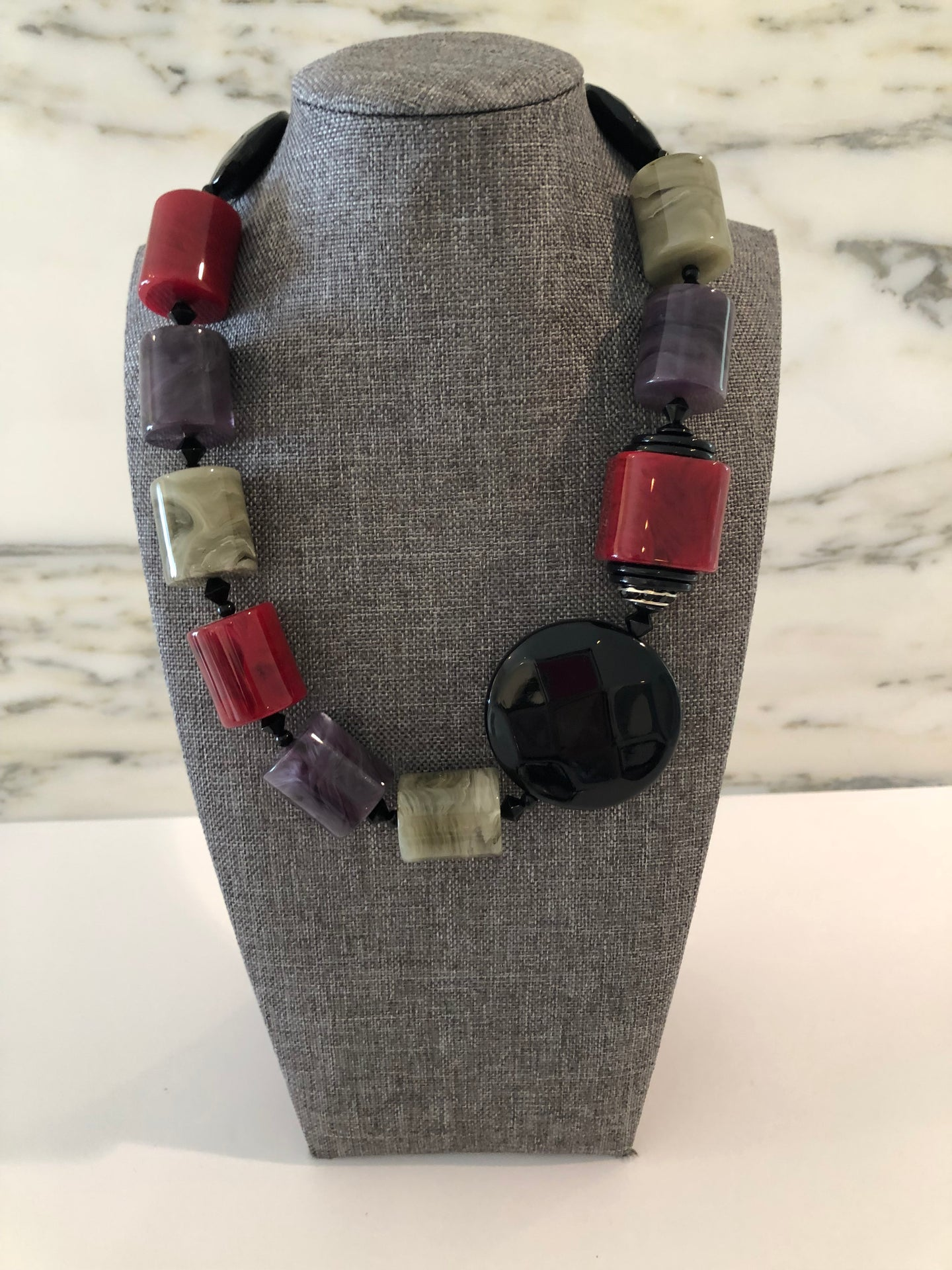 Merlot, Purple & Black Resin Necklace
