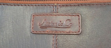 Tan Brown Leather Messenger Bag Logo