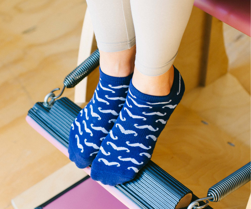 The Mo Navy Low Rise Non Slip Grip Socks
