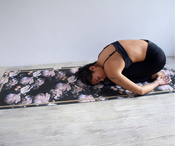 Luxe Eco Yoga Mat - Peony Print with Gold Trim
