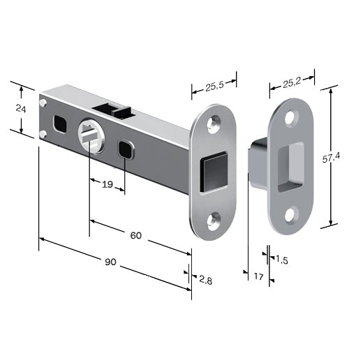 Tubular Magnetic Door Latch (Radius Corners)
