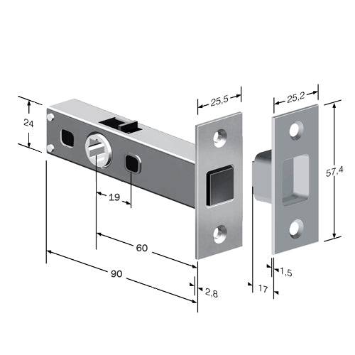 Tubular Magnetic Door Latch (Square Corners)