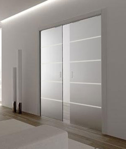 Eclisse Righe1 Satin Glass Double Pocket Door System