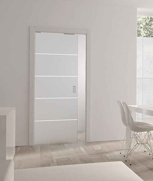Eclisse Righe1 Satin Glass Single Pocket Door System