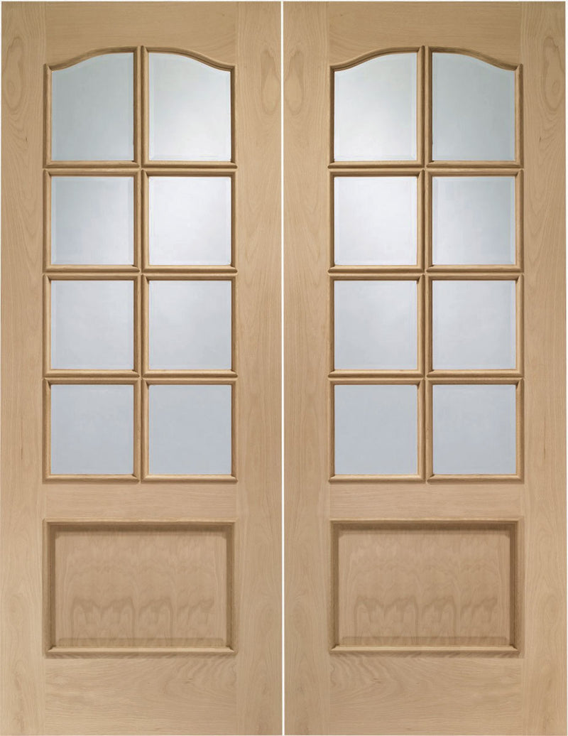 XL Joinery Oak Park Lane Door Pair Clear Bevelled Glass