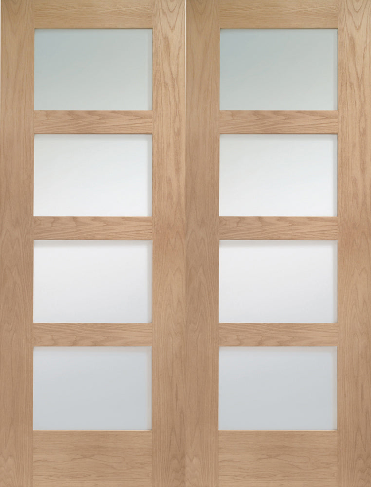 XL Joinery Oak Shaker Door Pair Clear Glazed