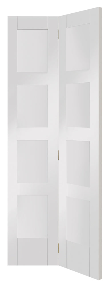 XL Joinery White Primed Shaker 4L Clear Glazed Bi-Fold