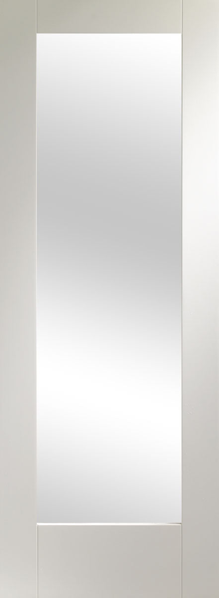 XL Joinery White Primed Pattern 10 Clear Glazed Fire Door
