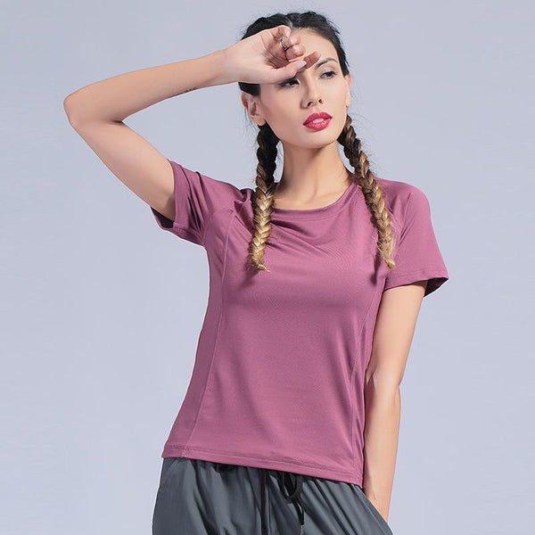 Female Sport Tops Short Sleeve Yoga Shirt Exercise Workout Sports T-Shirts Gym Clothing Yoga Top