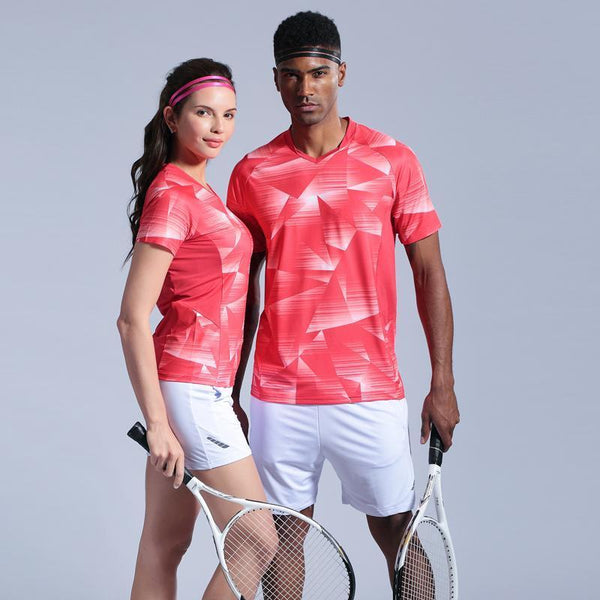 Men's Shirt Running T-shirts Women Short Sleeve Sports Suit Quick Dry Breathable Badminton Shirt