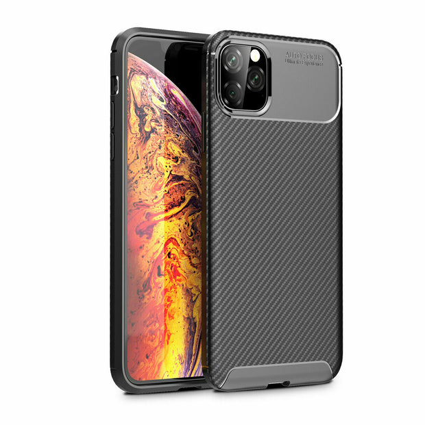 Shockproof Silicone Carbon Fiber Fibre Case Cover For iPhone 12 Pro Max 6.7""