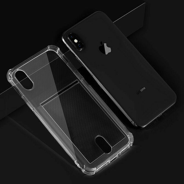 "Clear Case For iPhone 12 Pro 6.1""  TPU Silicone with Card Slot"