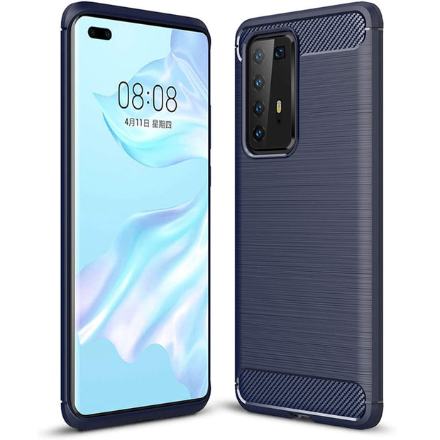 Shockproof Silicone Carbon Fibre Case Cover For Huawei P40