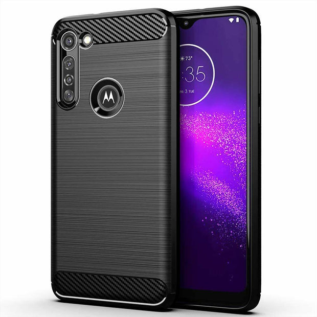 For Motorola G8 Power Case Carbon Fibre Gel Cover Ultra Slim Shockproof