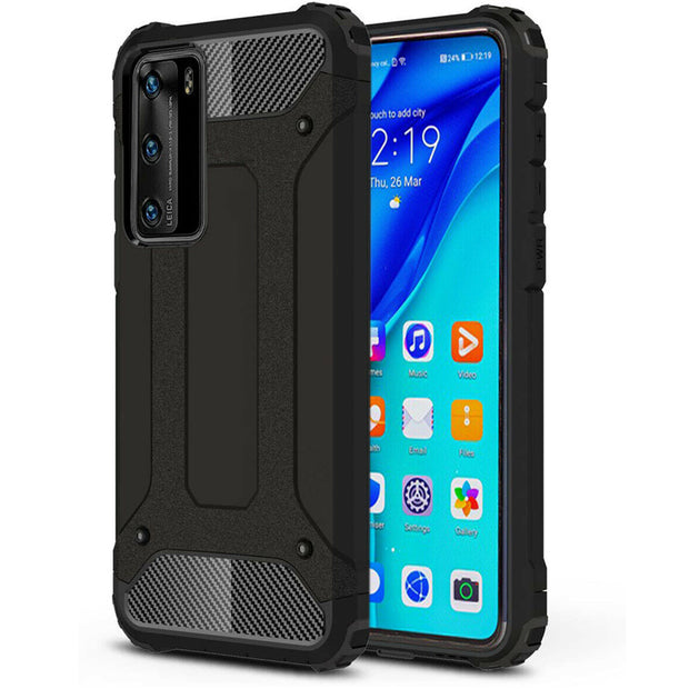 Huawei P40 Lite Tough Hard Heavy duty Armour Case Black