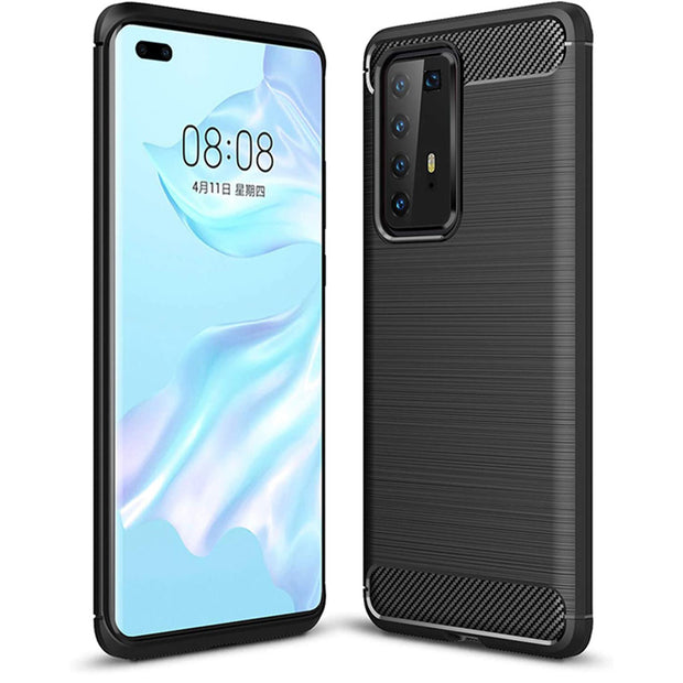 Shockproof Silicone Carbon Fibre Case Cover For Huawei Y6P 2020