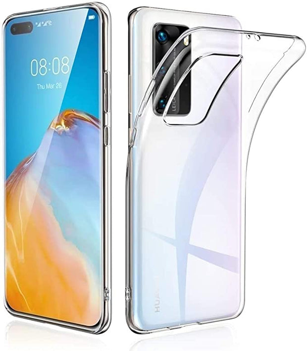 Huawei P40 Case, Slim Clear Silicone Gel Phone Cover