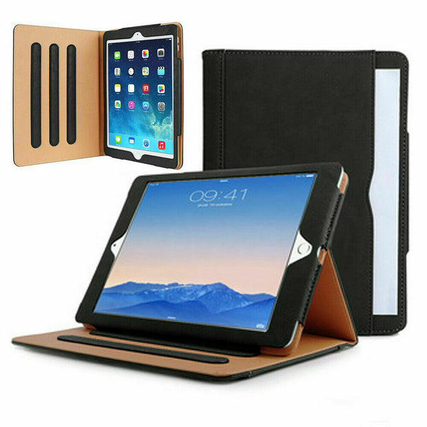 Genuine Leather BLACK TAN Smart Stand Case Cover For Apple iPad 2/3/4