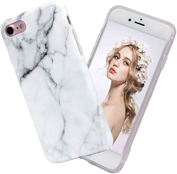 Apple iPhone 8 Case White Marble Slim Anti-Scratch Shockproof Cover Glossy Flexible Clear Transparent TPU Soft Case