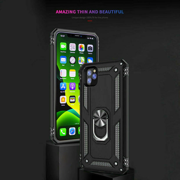 Apple iphone 8 Shockproof Ring Case Cover Black