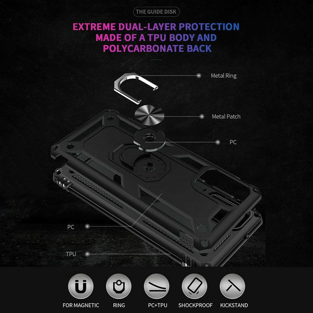 Samsung Note 10 Case Shockproof Heavy Duty Ring Rugged Armor Case Cover