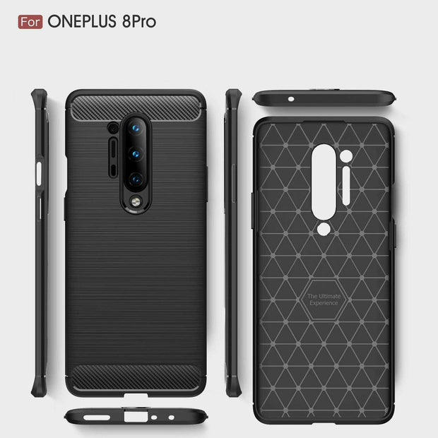 For OnePlus 8 Carbon Fibre Gel Case Cover Shockproof & Stylus