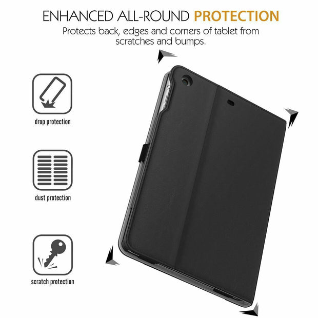 Genuine Leather BLACK TAN Smart Stand Case Cover For Apple iPad Pro 9.7""